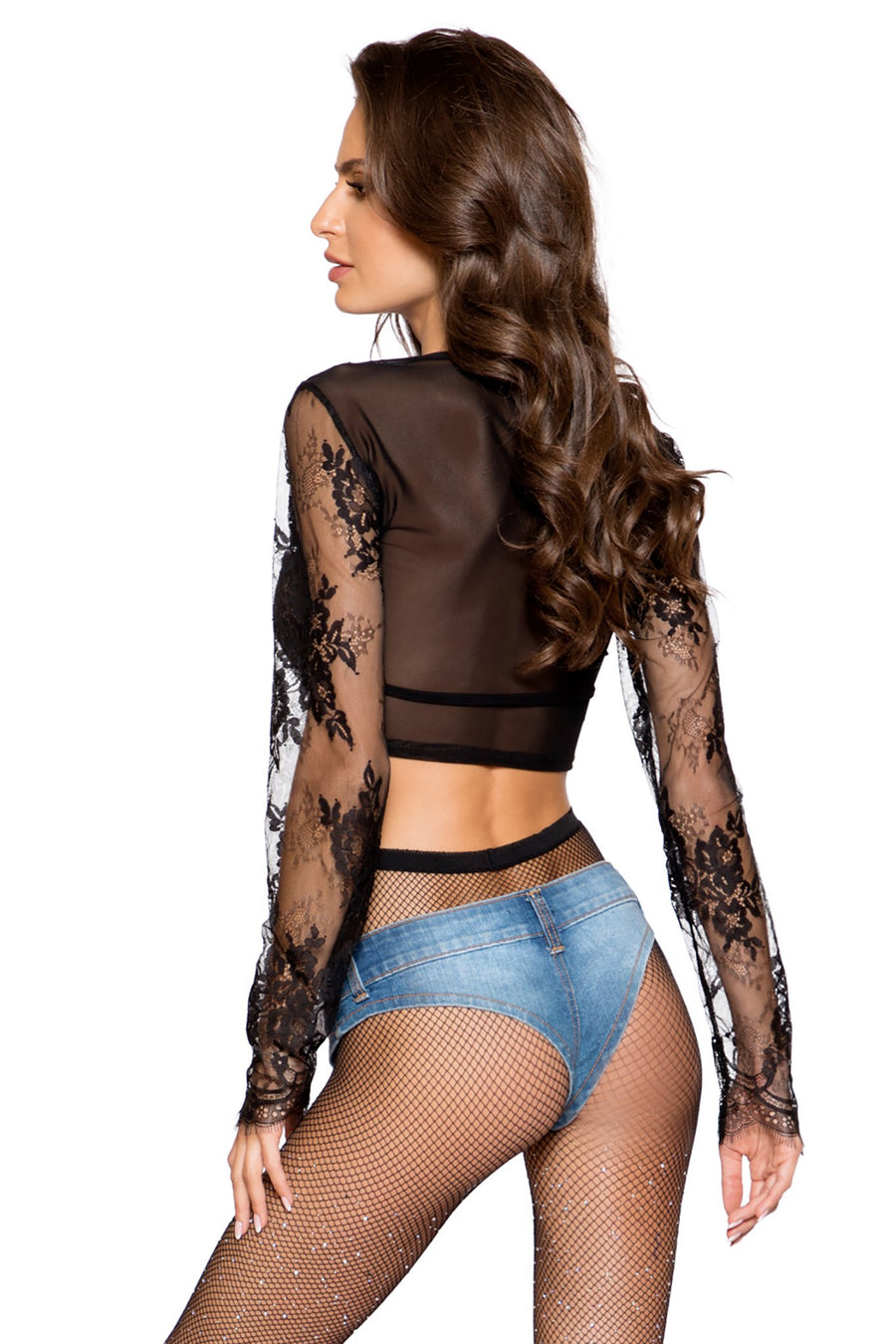 Long Sleeved Eyelash Lace Crop Top - Intimates, Roma - YourLamode