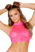 Hot Pink Cyclone Lace Halter Top
