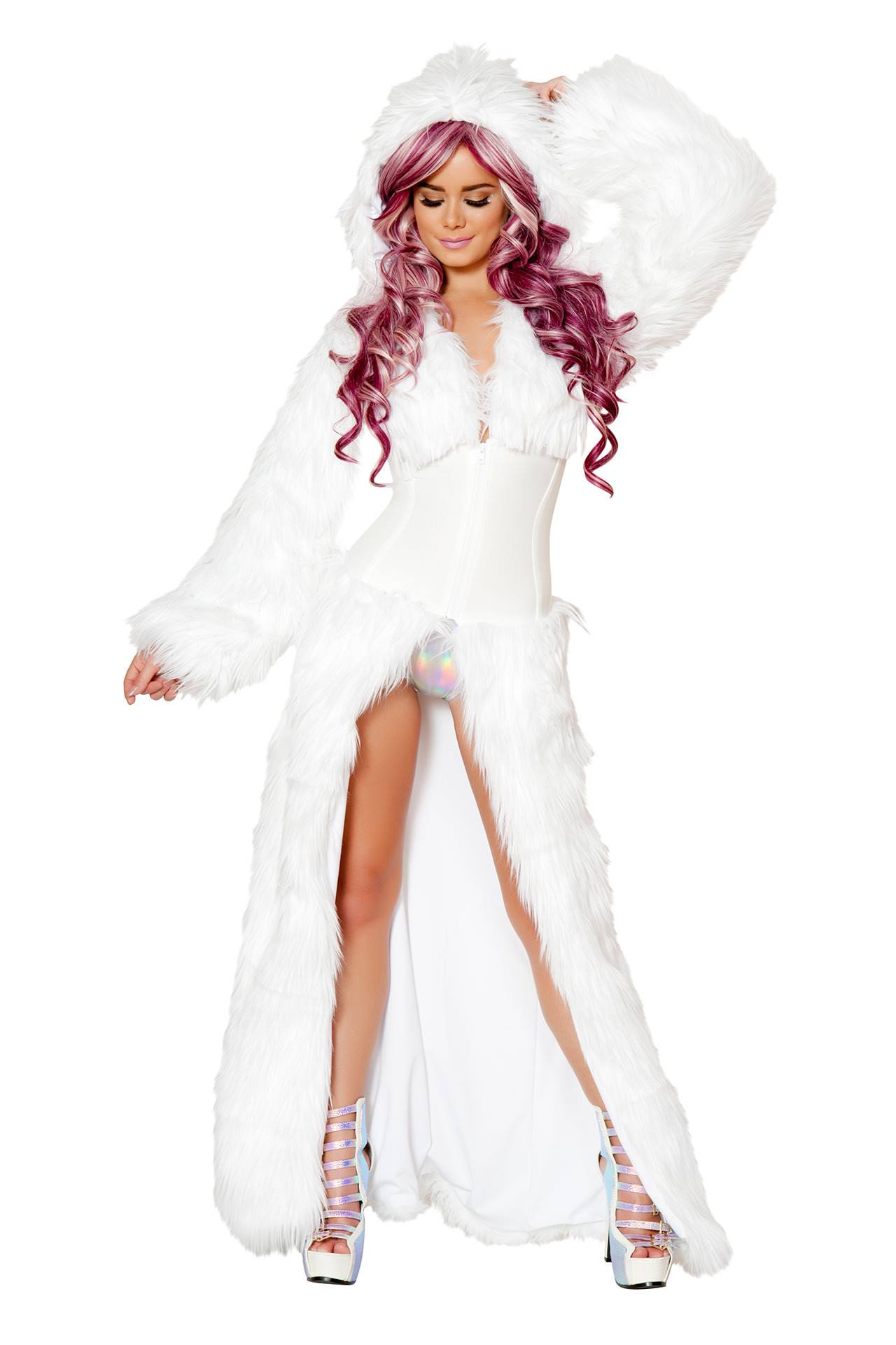 Light Up White Shag Cincher Coat Rave Outfit Rave Gear