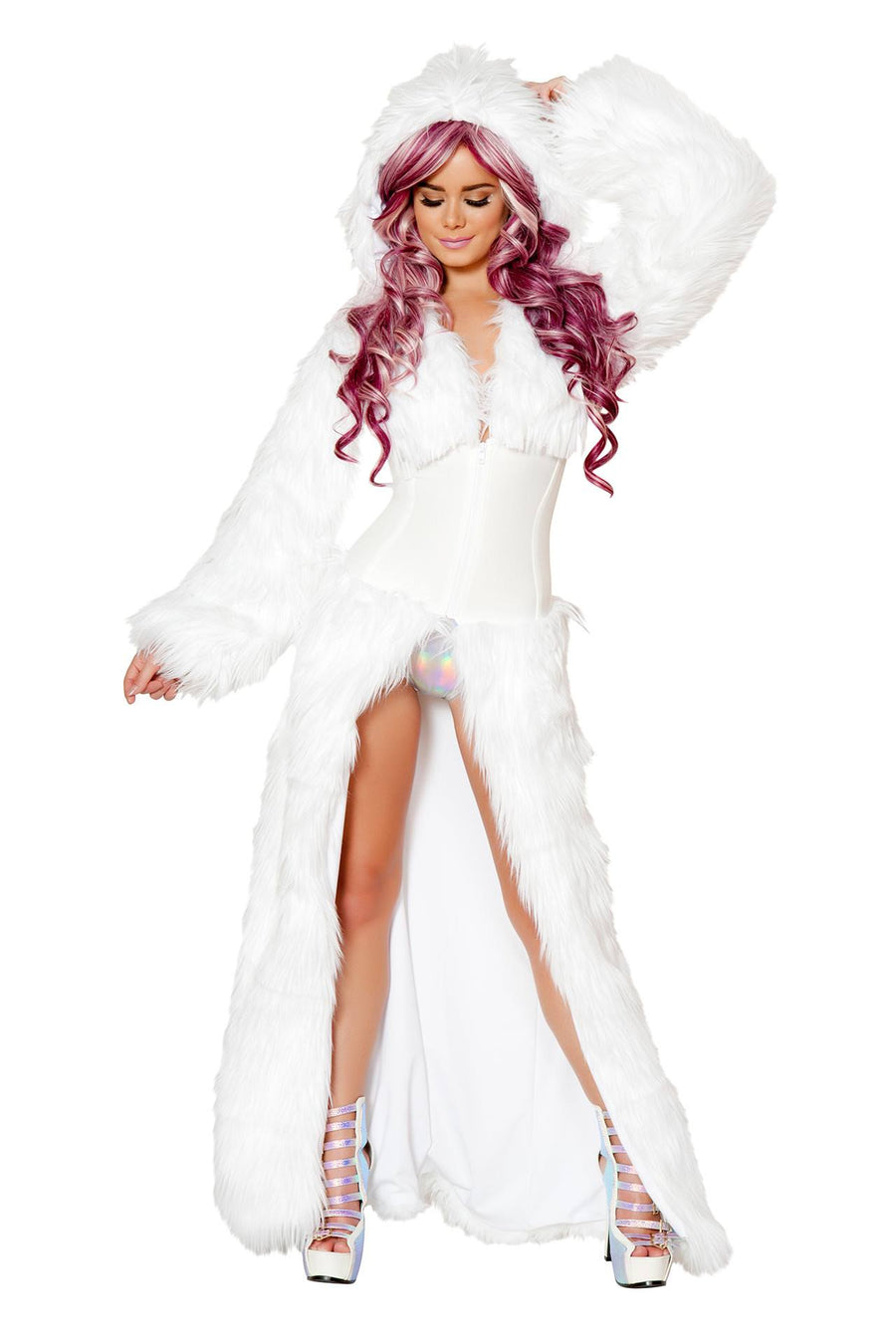 Light-Up White Shag Cincher Coat - Rave Clothing, J Valentine, YourLamode