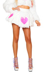 Light-Up Pink Heart White Shag Skirt - Rave Skirts, J Valentine - YourLamode