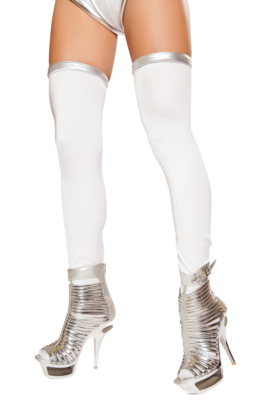 White and Silver Space Commander Leggings - Halloween Accessories, Roma - YourLamode