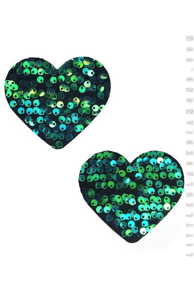 Heart Pasties in Siren Sequin - Pasties, Little Black Diamond - YourLamode