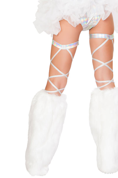 "Pair 100"" Space Hologram Leg Strap - Leg Strap with Attached Garter, Roma - YourLamode"