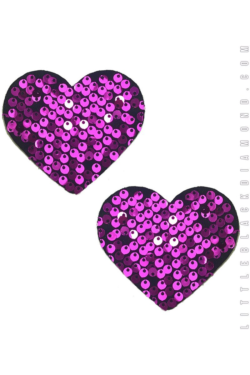 Heart Pasties in Heartbeat Sequin - Pasties, Little Black Diamond - YourLamode