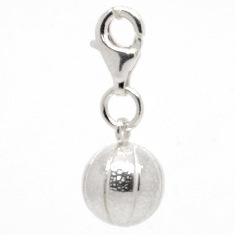 Silver Basket Ball Charm
