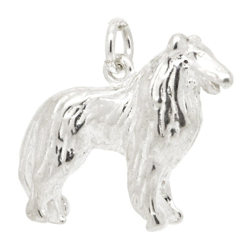 Silver Bearded Collie Dog Charm