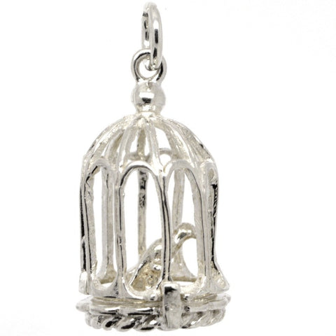 Silver Bird Cage Charm