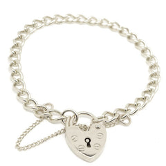 Silver Child's curb charm bracelet with padlock