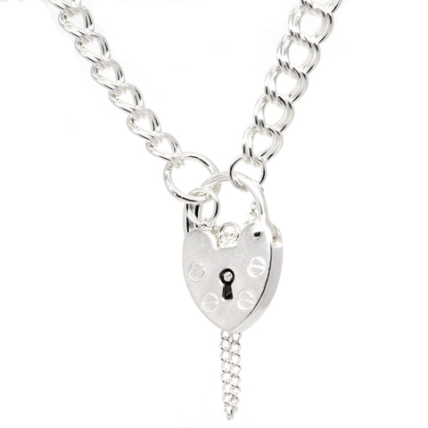 Silver Double Link Charm Bracelet with Padlock