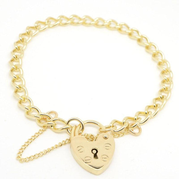 Charm Bracelet - Gold Child's Curb Charm Bracelet With Padlock
