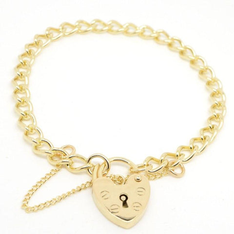 Gold Child's curb charm bracelet with padlock