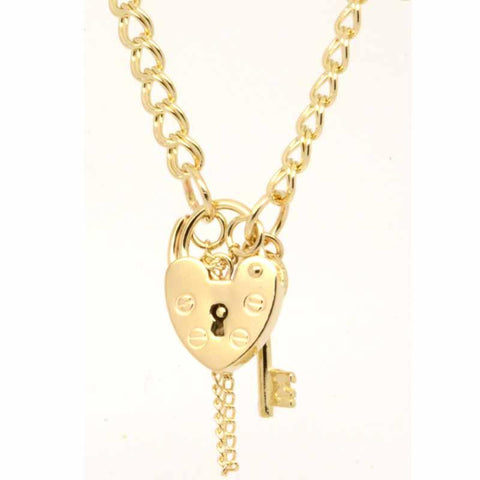 Gold Child's Double Link Charm Bracelet with Padlock
