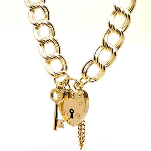 Gold Large Double Curb Charm Bracelet with Padlock