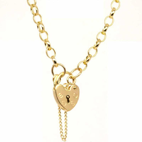 Gold Oval belcher charm bracelet with padlock