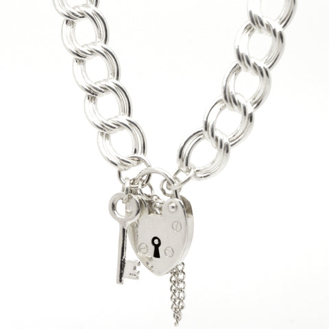 Silver Large Double Curb Charm Bracelet with Padlock