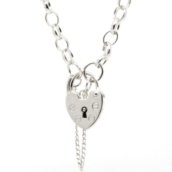 Oval belcher charm bracelet with padlock - Perfectcharm