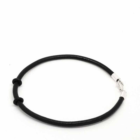 Silver Leather Bracelets Manband