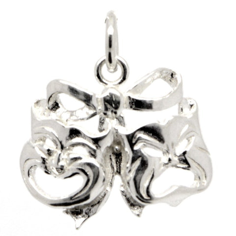 Silver Comedy and Tragedy Masks Charm with bow
