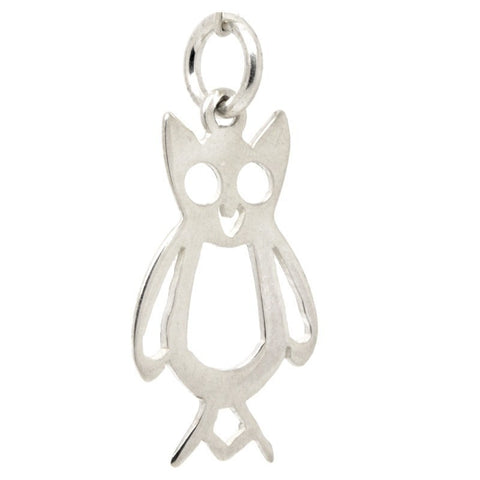 Silver Cut Out Owl Charm