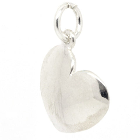 Silver Domed Heart Charm