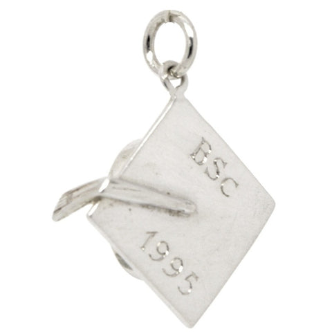 Silver Engraved Graduation Cap or Mortarboard Charm