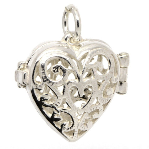 Silver Filigree Heart Charm