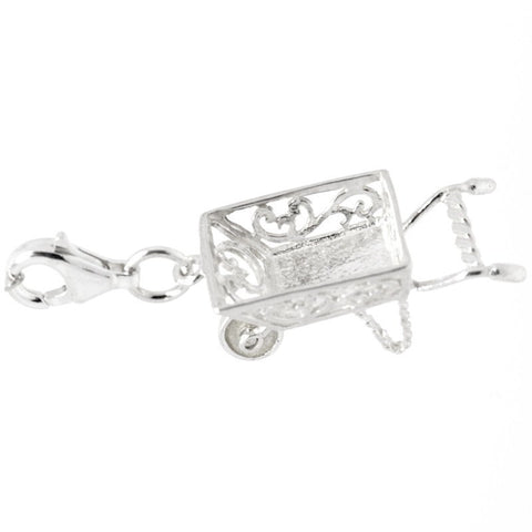 Silver Filigree wheelbarrow Charm