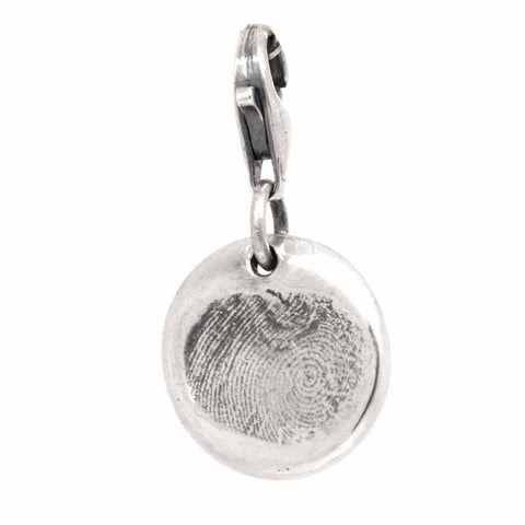 Silver Fingerprint Disc Charm