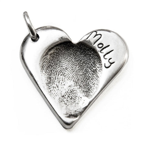 Silver Fingerprint Heart Charm