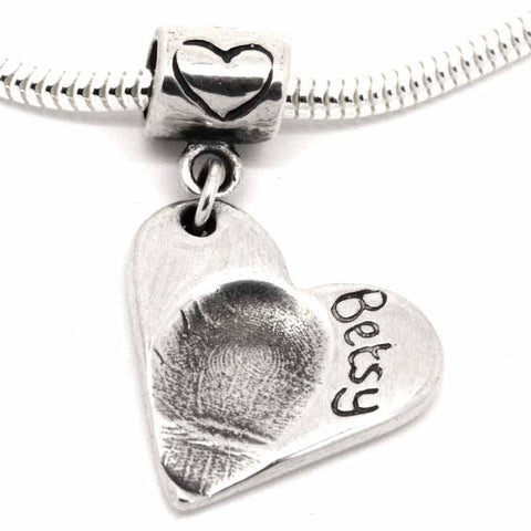 Silver Fingerprint Heart Charm on Carrier Bead