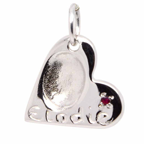 Fingerprint Heart Charm with Birthstone