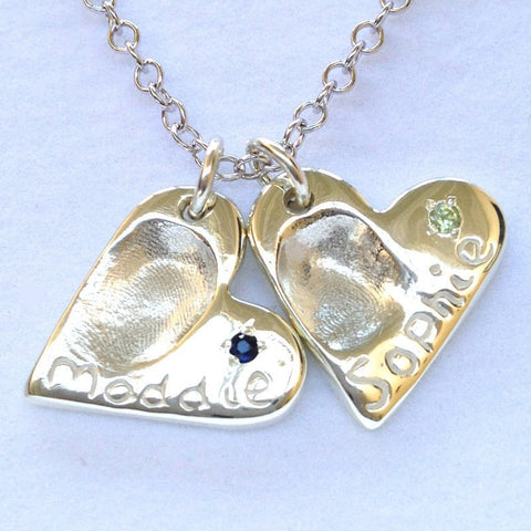 Silver Fingerprint Heart Charm with Birthstone