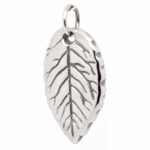 Silver Fingerprint Large Double Sided Leaf Charm