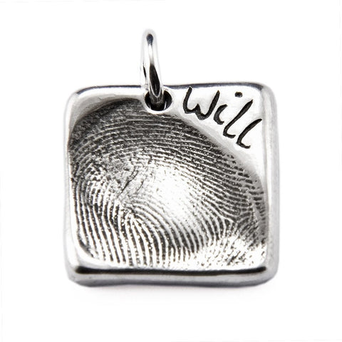 Silver Fingerprint Square Charm