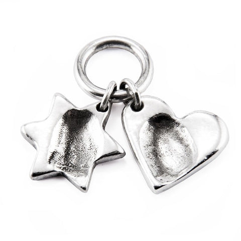 Silver Fingerprint Star Charm