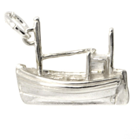 Silver Fishing Boat Charm