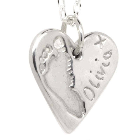 Silver Footprint Heart Charm
