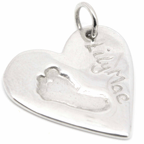 Silver Footprint Heart Necklace Pendant