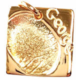 Charm - Gold Fingerprint Square Charm