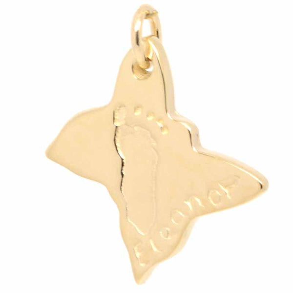 Charm - Gold Footprint Butterfly Charm