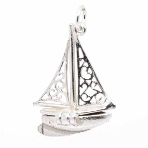 Gold Opening Sailing Boat Yacht Charm