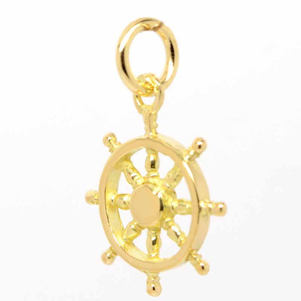 Gold Small Ship Wheel Charm - Perfectcharm - 1