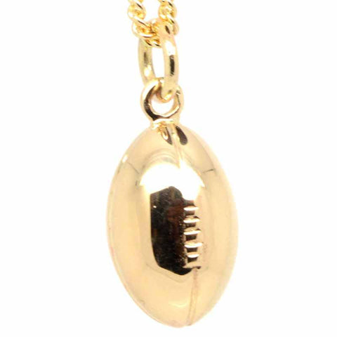Gold Solid Rugby Ball Charm