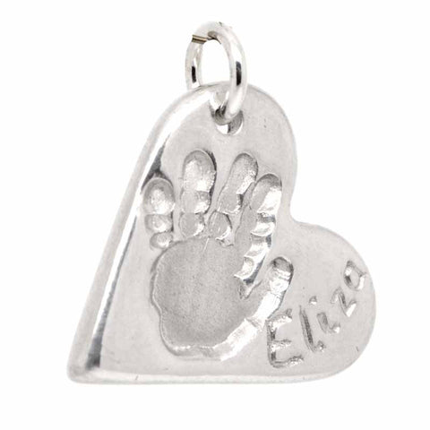 Silver Handprint Heart Charm or Necklace Pendant