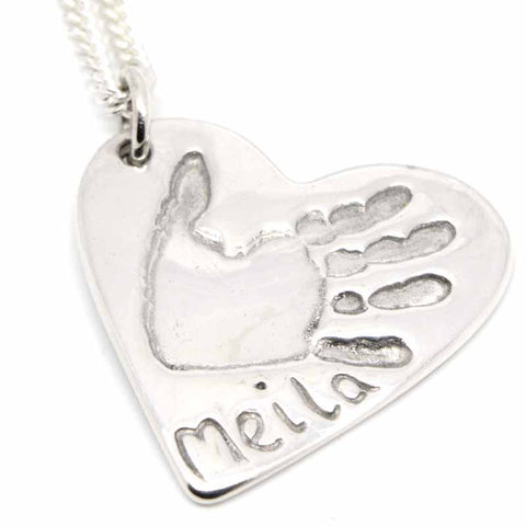 Silver Handprint Heart Necklace Pendant