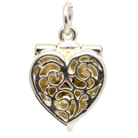 Silver Heart-Shaped-Ring Box charm