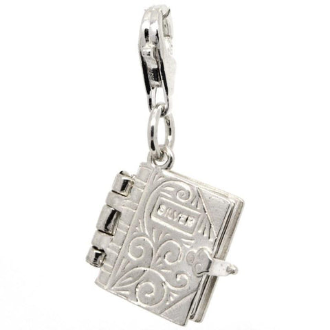 Silver Holy Book Bible Charm