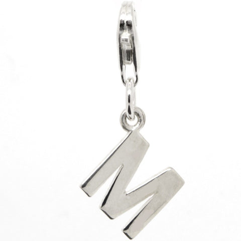 Silver Initial letter M Charm