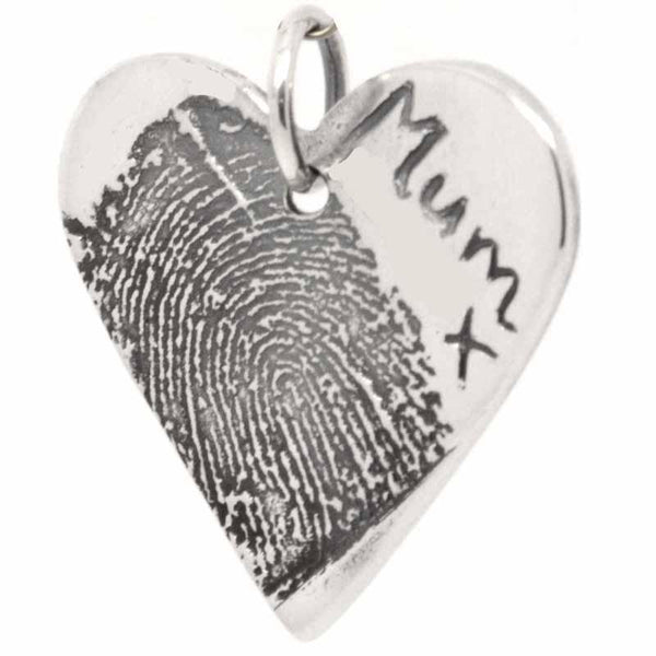 Charm - Large Heart Pendant From Ink Print